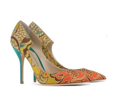 paul andrew colorful jacquard print closed toe pumps