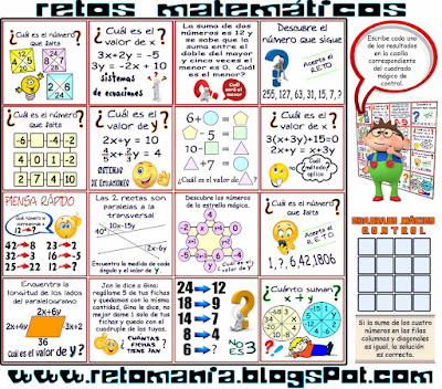 Retos matemáticos, Problemas matemáticos, Desafíos matemáticos, Jugando con números, Acertijos numéricos, Problemas de lógica, Cuadrados mágicos, Acertijos