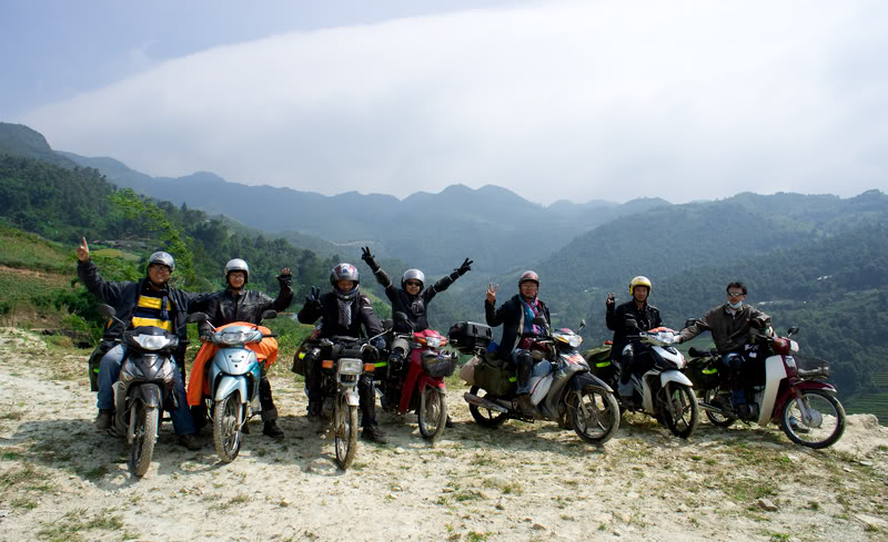 Many young Vietnamese rent the motorbike in Ha Giang city to go to Dong Van Stone Plateau