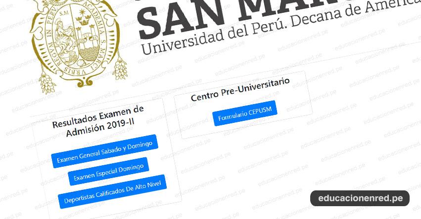 UNMSM Publicó Resultados Admisión San Marcos 2019-2 (Examen Domingo 10 Marzo) Lista de Ingresantes - Universidad Nacional Mayor de San Marcos - www.unmsm.edu.pe