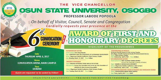 UNIOSUN 6th Convocation Ceremony Schedule & Programme Of Events