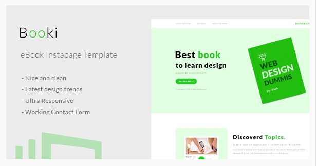 Booki - Instapage Book Landing Page Free Download 2018