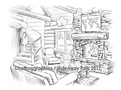 pencil sketch artwork shows interior of log cabin in remote dream location