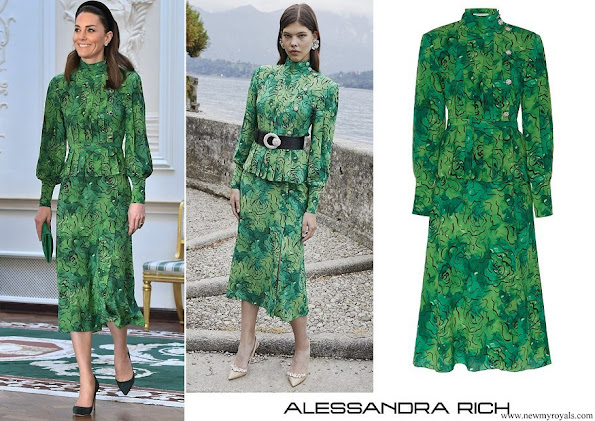 Kate Middleton wore Alessandra Rich Printed Silk Peplum Dress