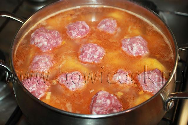 рецепт картофеля, тушеный с мясными фрикадельками с пошаговыми фото