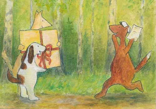 Postcard illustration of Hulmu Hukka and Haukku Spaniel having a big present to their fox friend that has graduated