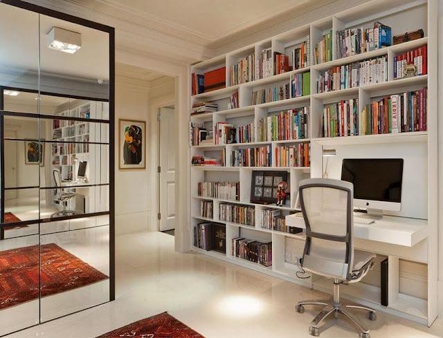 best custom white flip flop home office desk side bookcase design ideas