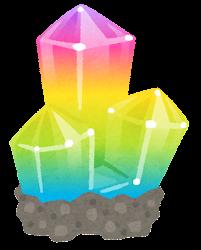 鉱石のイラスト(台座付き・虹色)