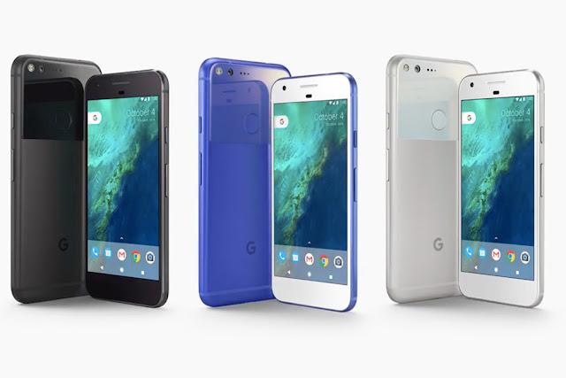 Fotografia del Google Pixel nei tre colori disponibili