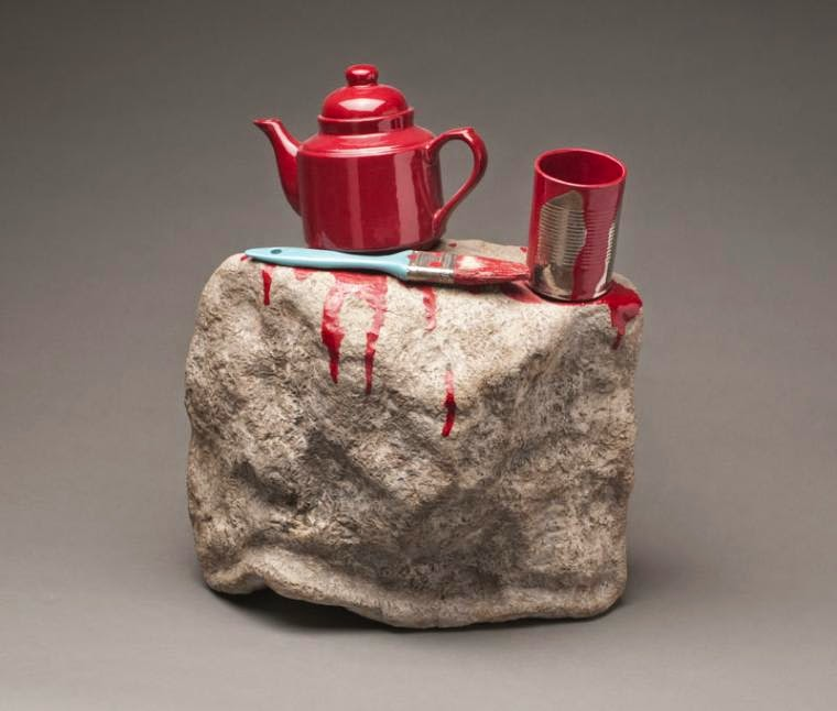 14-Painting-of-Red-Teapot-Victor-Spinski-Clay-Sculptures-replicating-objects-from-Daily-Life-www-designstack-co