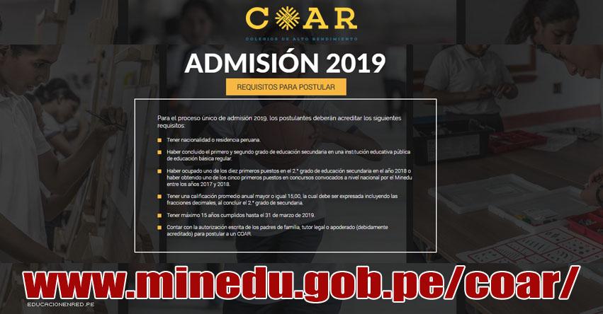 COAR ADMISIÓN 2019: Requisitos para Inscripción a Colegios de Alto Rendimiento - CRONOGRAMA - MINEDU - www.minedu.gob.pe