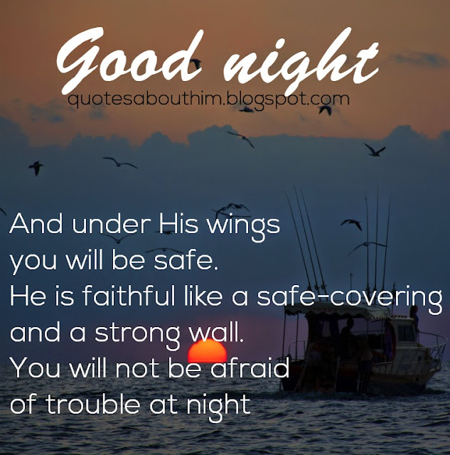 Card with blblical text Psalm 91 - good night