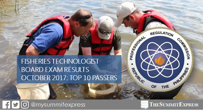 October 2017 Fisheries Technologist board exam results top 10 passers