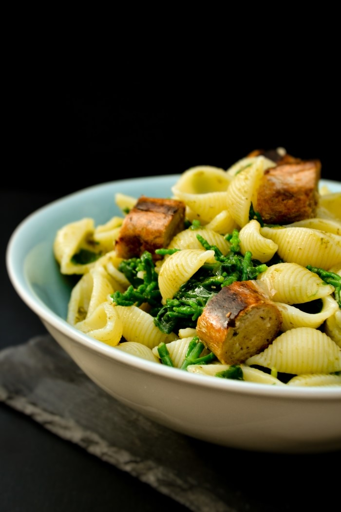 Close Up of Shell Pasta with Samphire, Spinach & Sausages