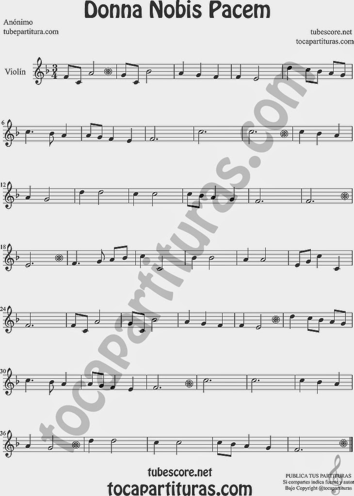 Donna Nobis Pacem  Partitura de Violín Sheet Music for Violin Music Scores Music Scores