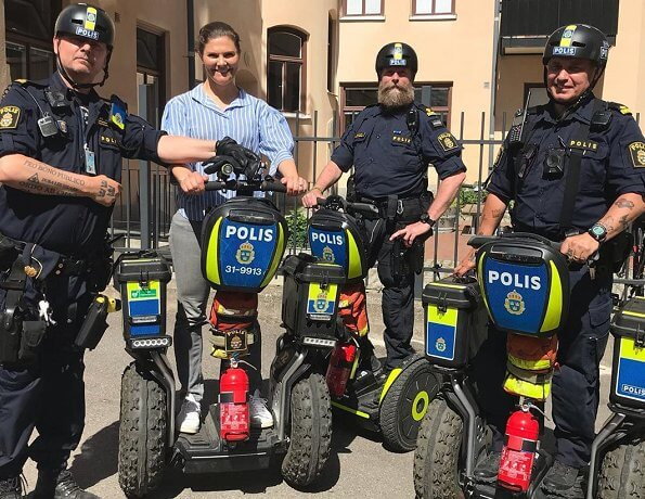 Crown Princess Victoria met police officers riding Segways in Södermalm