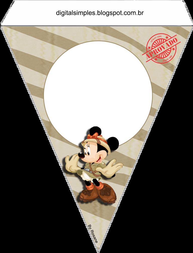 Para banderines de Mickey y Minnie de Safari.