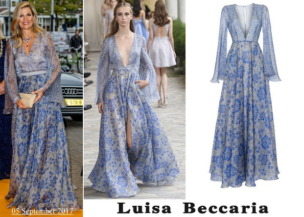 Queen Maxima wore Luisa Beccaria Organza Printed Wide Sleeves Dress
