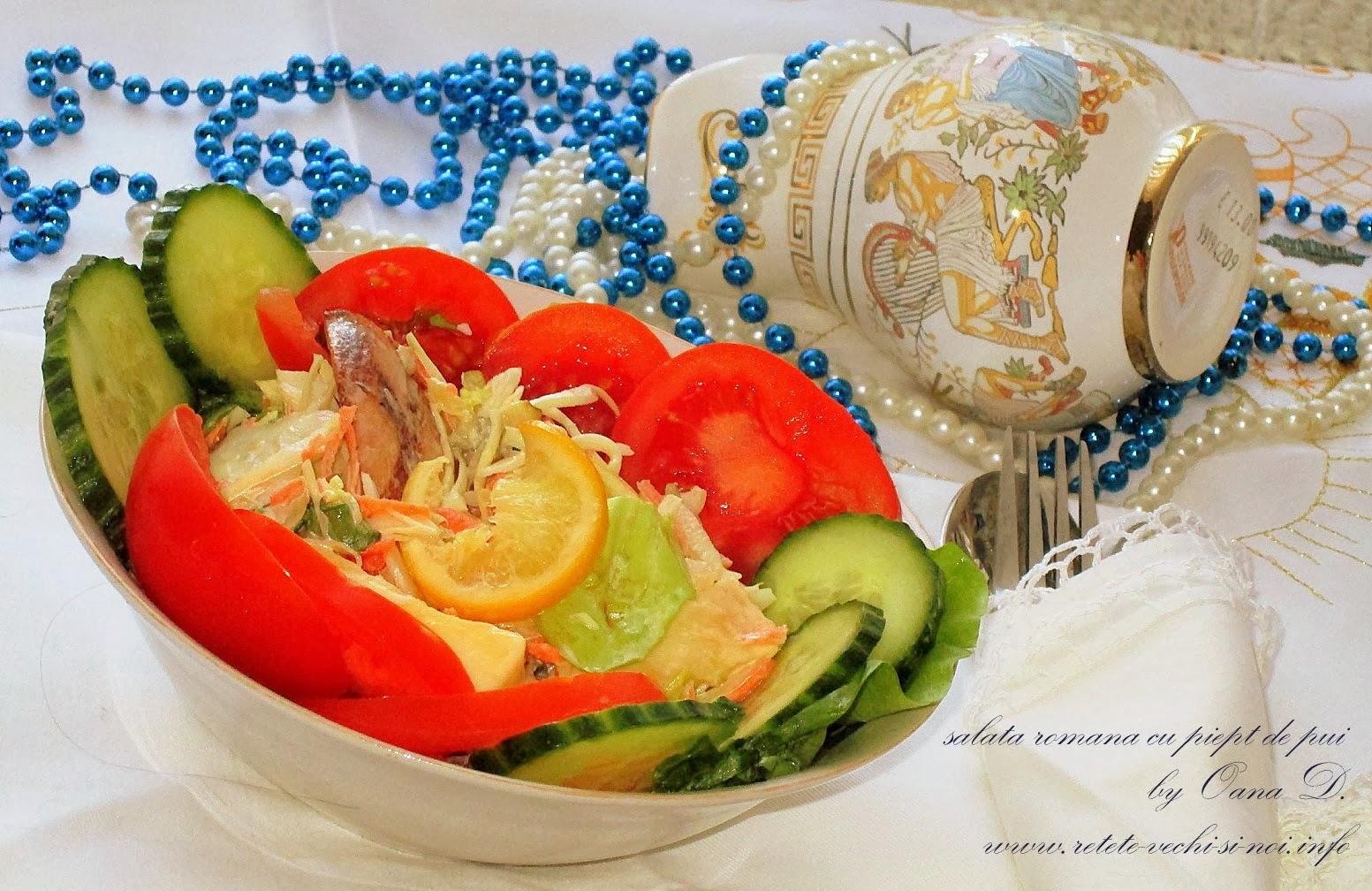 salata romana cu piept de pui
