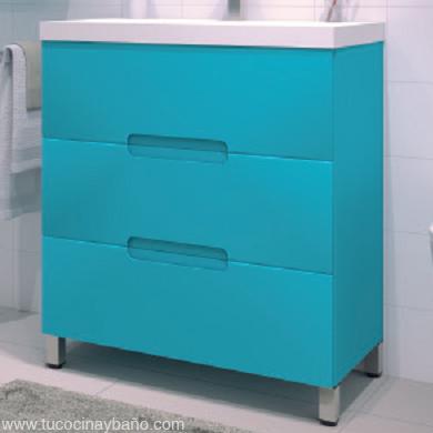 mueble baño azul mate uñero cajon