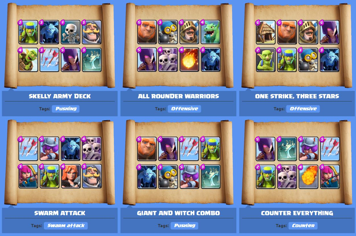 Clash royale best decks by arena for Deck arene 6 miroir