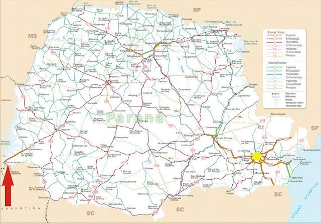 Mapa rodoviário com a localização de Foz do Iguaçu