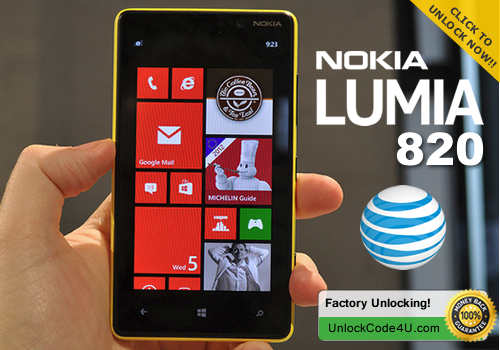 Factory Unlock Code for Lumia 820 from At&T