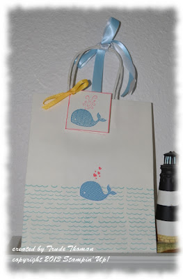 Stamp with Trude, Stampin' Up!, gift bag, baby, Oh Whale
