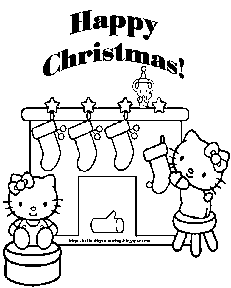 printable hello kitty coloring pages christmas | XMAS COLORING PAGES