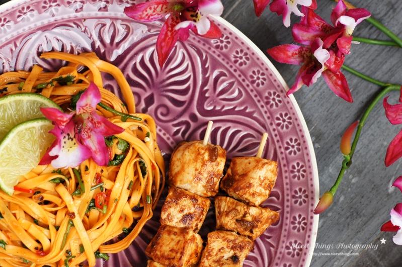 Teller mit Thai Chili Nudeln