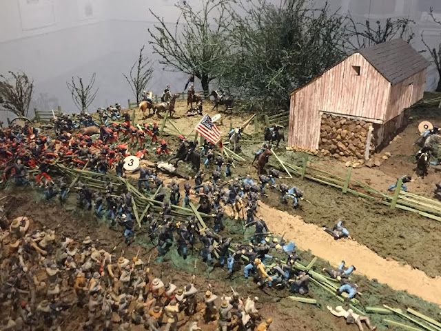 Intense depiction of the action at Gettysburg.