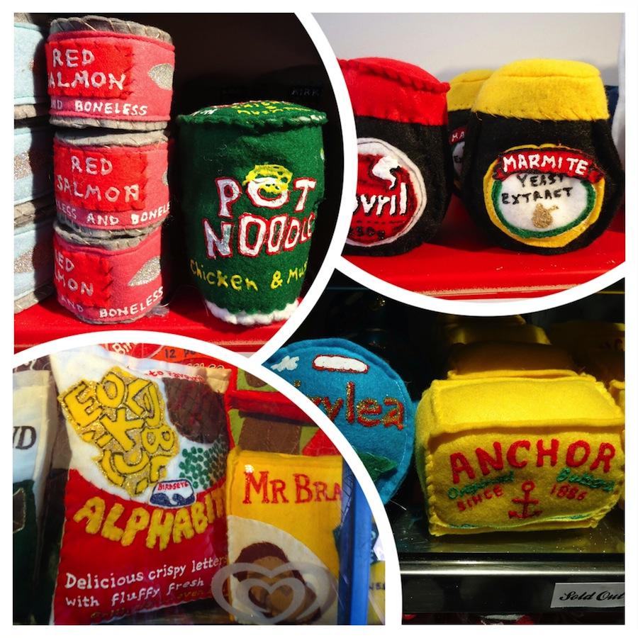 Felt family favourites: Anchor butter, Marmite and Pot Noodle