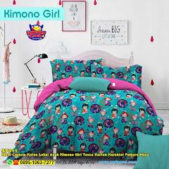 Sprei Custom Katun Lokal Anak Kimono Girl Tosca Kartun Karakter Pattern Hijau