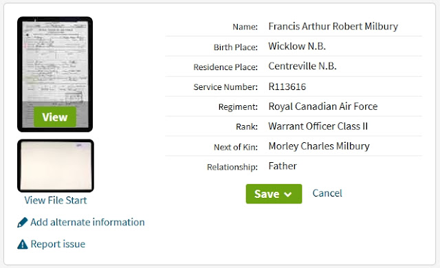 Ancestry search results page for Francis Arthur Robert Milbury