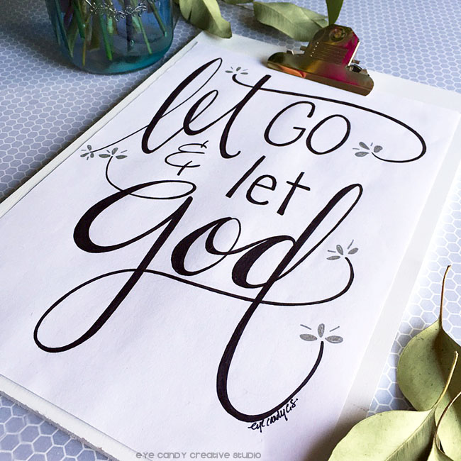 let go & let God, clipboard, leaves, inspirational print, faith art