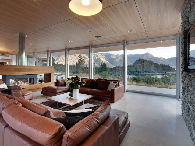 Contemporary living room in the glass house