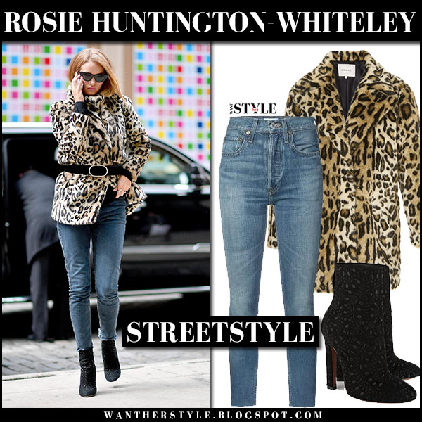 Rosie Huntington-Whiteley in cheetah print jacket frame and skinny jeans re/done model street style march 25