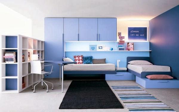 Dormitorio para joven celeste blanco