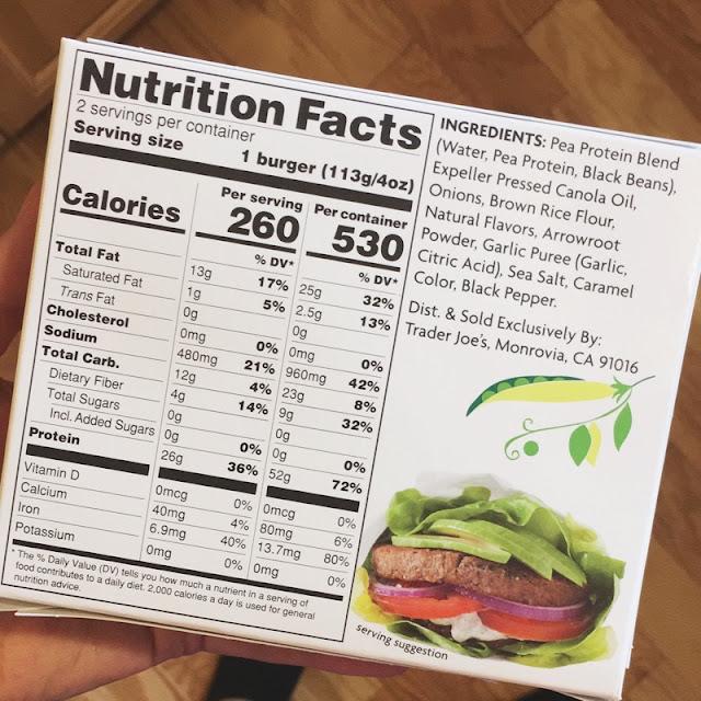 trader joe's hi-protein vegan veggie burgers macros