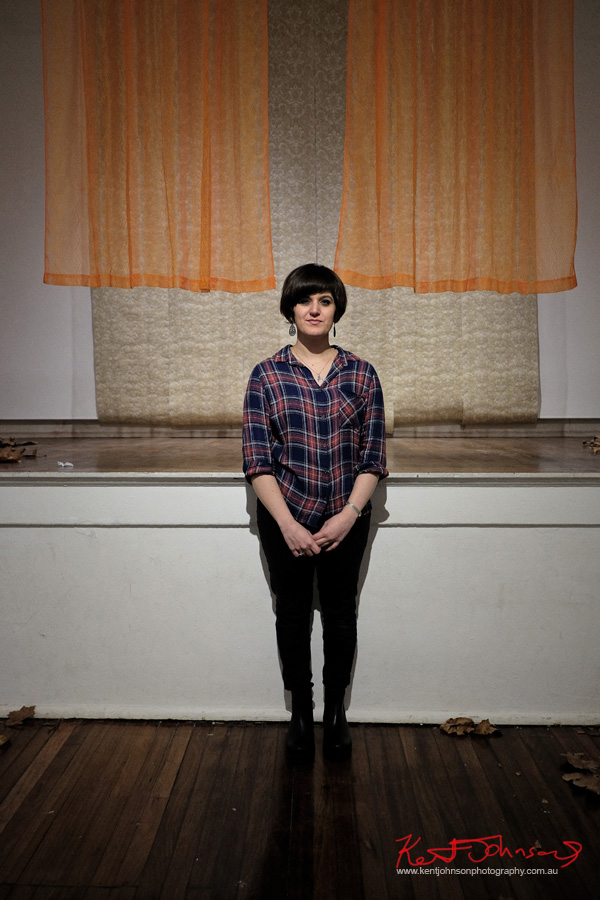 Portrait of Kate Farquharson at KUDOS gallery for her exhibition Disintegration.