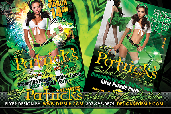 School For Naughty Girls St. Patrick's Day Party Flyer design