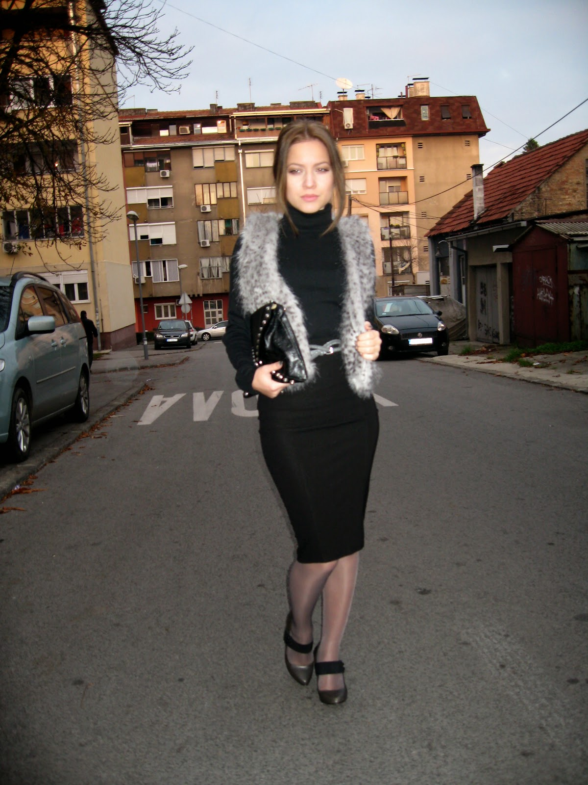 outfit, faux fur vest, black turtleneck, pull and bear black pencil skirt, zara sandals, zara pointed heels, zara strappy heels, black studded clutch