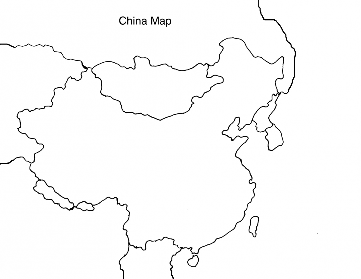 Map Of China Black And White Color
