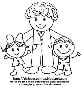 Dibujo de un padre con sus hijos para colorear pintar imprimir. Dibujo del padre hecho por Jesus Gómez