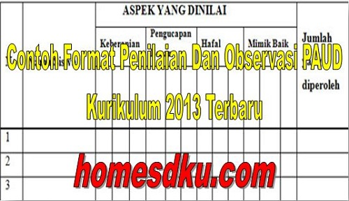 Contoh Format Penilaian Dan Observasi PAUD Kurikulum 2013 Terbaru