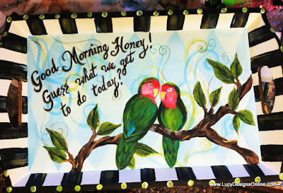 whimsical hand painted tray with love birds and words