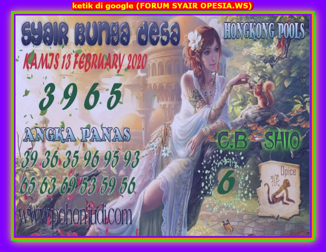 Kode syair Hongkong Kamis 13 Februari 2020 101