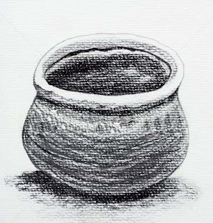 Poem about clay pot, sketch, pot