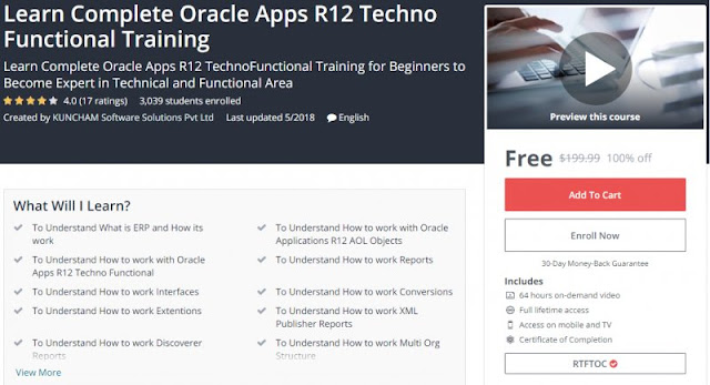 [100% Off] Learn Complete Oracle Apps R12 Techno Functional Training (64 Hours)| Worth 199,99$