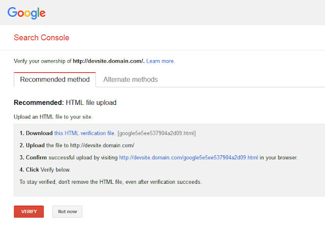 Google Search Console website ownership verification